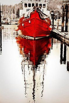 red sailboat taken by Karmen Rose.this looks like a painting Shades Of Red, Fishing Boats, Belle Photo, Color Splash, Watercolor Paintings, Watercolours, Art Photography, Reflection Photography, Sailing