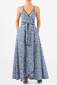 I <3 this Stripe and floral print maxi wrap dress from eShakti