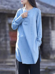 O-NEWE Vintage Pure Color Side Split Frog Long Sleeve Shirt for Women can cover your body well, make you more sexy, Newchic offer cheap plus size fashion tops for women Mobile. Half Sleeve Dresses, Plus Size Maxi Dresses, Dresses With Sleeves, Women's Dresses, Casual Hijab Outfit, Boho Outfits, Casual Outfits, Latest Fashion Clothes, Latest Fashion For Women