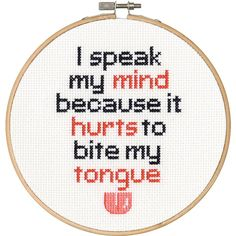 Cross Stitch Patterns Dimensions Counted Cross Stitch Kit, Speak My Mind - Funny Cross Stitch Patterns, Cross Stitch Designs, Learn Embroidery, Hand Embroidery Patterns, Embroidery Designs, Counted Cross Stitch Patterns, Cross Stitch Embroidery, Subversive Cross Stitches, Embroidery Hoops