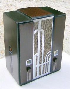 1934 Majestic 161 Art Deco chrome grille tombstone radio. Fully restored. Similar cabinet style: Zenith 829