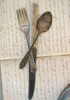 Vintage Silverware Garden Markers -- practical and adorable $17