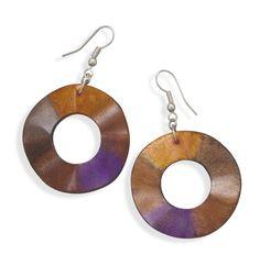 Orange and Purple Wavy Wood Fashion Earrings