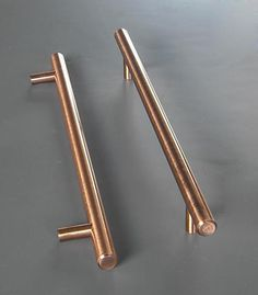 8in Hans Kristof Modern Long Copper Finish Kitchen Cabinet Handle Pull Bar - Hole to Hole 128mm