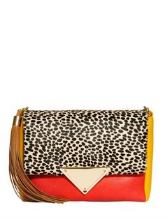 Sara Battaglia Teresa ponyskin and leather shoulder bag