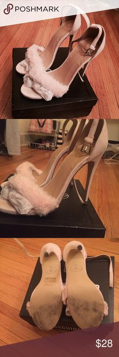 """Pink Faux Fur Heeled Sandals Baby Pink Heeled Sandals. Heel Height ~4.5-5"""" Worn Once. Extra heel taps included with pair UK Size 7 which is equivalent to US 9. True to Size Missguided Shoes Heels"""