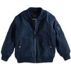 Bomber Jacket (110 DKK) ❤ liked on Polyvore featuring outerwear, jackets, blouson jacket, bomber jacket, flight jacket, blue jackets and blue bomber jacket