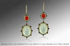 Moonstone Red Spinel Ruby Diamond 18K Gold Earrings IVY New York