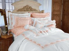 Chénier - Luxury Bedding - Italian Bed Linens - Capturing the fragility of nature's loveliest flowers as only poets and artists can, luminous White Egyptian cotton sateen, 600 thread count, is romantically embroidered in sentimental Peach or Lavender