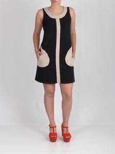 Vestido bolsillos negro y beige #dress