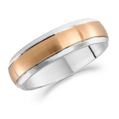 18ct rose gold and palladium 6.0mm mens wedding ring