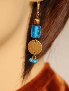 Blue bohemian glass and antique brass by EstelleLukoffDesigns