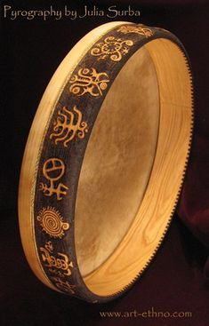 Tunable Frame Drum with pyrography Drums Electric, Drum Craft, Pyrography Designs, Frame Drum, Drums Art, Alphabet Symbols, Drum Lessons, Tambourine, Celtic Art