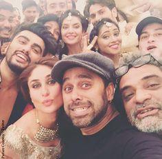Arjun Kapoor, Kareena Kapoor Khan, Bosco Martis and R. Balki on the sets of 'Ki and Ka'
