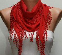 Red Scarf - fatwoman, $13.50