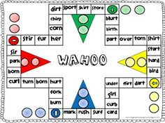 Wahoo Word Game- ar words, This word game is played like the game of Sorry. I created this game with only ar words to provide students with practice reading words with. Kindergarten Reading, Reading Activities, Teaching Reading, Reading Games, Teaching Time, Letter Activities, Reading Groups, Student Reading, Speech Language Therapy