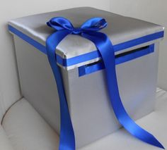 YOUR COLORS Silver and Royal Blue Wedding Bridal Money Box Card Holder Gift Holder Accessories Classic and Chic Custom Made. $59.00, via Etsy.