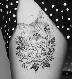 Black Cat Tattoos, Leo Tattoos, Badass Tattoos, Animal Tattoos, Body Art Tattoos, Tatoos, Cat Tattoo Designs, Tattoo Design Drawings, Flower Tattoo Designs