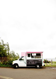 food truck | fresh coconut-- Using blackboard paint to announce name or food truck offerings.