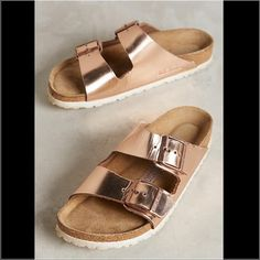 Copper Birkenstock Sandals Arizona style, Fits true to size Leather upper Suede insole Synthetic sole Made in Spain, size 37 Birkenstock Shoes Sandals