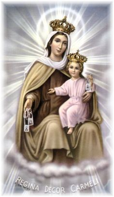 Brown Scapular of Our Lady of Mount Carmel - Why Catholics wear the scapular? It was given to us by the Mother of God as a pledge of protection & badge of salvation. Religious Pictures, Jesus Pictures, Blessed Mother Mary, Blessed Virgin Mary, Jesus Mother, Immaculée Conception, Lady Of Mount Carmel, Queen Of Heaven, Mary And Jesus