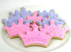 Items similar to Princess Cookies-Tiara/Crown Cookies-Princess Party Favors-One Dozen on Etsy Second Birthday Ideas, Baby Girl First Birthday, Princess Birthday, 1st Birthday Parties, Kid Parties, Princess Cookies, Princess Party Favors, Crown Cookies, Sugar Cookies