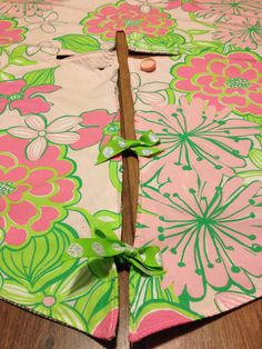One of a kind Lilly Pulitzer Christmas tree skirt lined. Rena Marie Design, visit my Etsy shop. #lillypulitzer #christmas #etsy