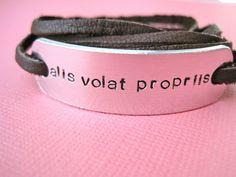 Hand stamped bracelet  Alis Volat Propriis  by TesoroJewelry, $17.00