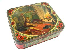 Antique french lithographed biscuit tin with humorous by Chanteduc, $62.00
