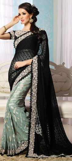 160193 Black and Grey, Blue  color family Embroidered Sarees, Party Wear Sarees in Chiffon, Georgette fabric with Lace, Machine Embroidery, Thread work   with matching unstitched blouse.
