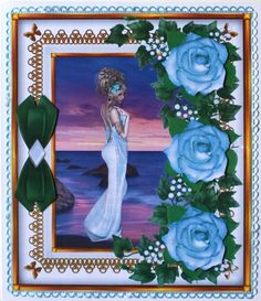 Rose Decoupage 12 by Taina Kankare: I used these lovely light blue roses to my own design, Lady Bluerose and the Sea of Dreams sheet. Light Blue Roses, Hobbies And Crafts, Designer, Decoupage, Gallery, Handmade Cards, Frame, Painting, Lady