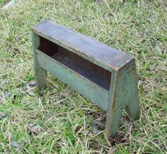 Early Primitive Stool With Cubby and Old Paint      this was also used as a tool box!