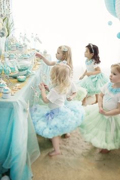 Too fun and too cute! #ballet #fairy #tutu #party #blue #green #dessert #table #cake