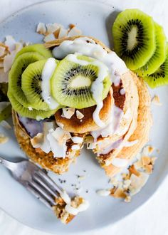 Fluffy Gluten-Free Pancakes with Coconut Butter Drizzle and Kiwi recipe