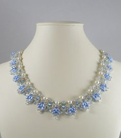 Woven Twin Bead Necklace Light Sapphire by IndulgedGirl on Etsy, $50.00