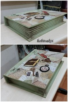 ♥♥ Hobi Vakti ♥♥: Kutular, kutular, kutular. Decoupage Furniture, Decoupage Box, Wood Box Design, Diy And Crafts, Paper Crafts, Glue Book, Altered Boxes, Book Making, Wood Boxes