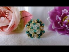 TUTORIAL ANELLO ELISABETTA - YouTube Jewelry Making Tutorials, Beading Tutorials, Beading Patterns, Diy Beaded Rings, Beaded Bracelets, Bead Embroidery Jewelry, Beaded Embroidery, Pearl And Diamond Ring, Ring Tutorial