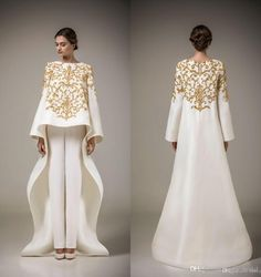 Two Pieces Evening Dresses 2015 Vintage Long Sleeve Arabic Robe Muslim Formal Dresses Golden Embroidery Flowers White Stain (Pants free)