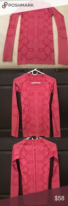 Lululemon Swiftly tech long sleeve crew neck Never worn, beautiful two tone jacquard type look. Special on line only edition. Great for layering at gym or even just wearing alone . Light weight , thumb holes in sleeves if need to keep hands warm . Above picture in blue is to show you the style top and how it looks on. Silver tech technology prevents odor causing bacteria lululemon athletica Tops Tees - Long Sleeve