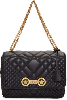 854c01588e16 Versace Black Quilted Icon Shoulder Bag Leather Lanyard