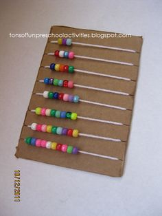 Tons of Fun: Math Board Homemade abacus with cardboard, beads, and yarn. Math For Kids, Diy For Kids, Crafts For Kids, Kindergarten Math, Teaching Math, Toddler Activities, Preschool Activities, Math Boards, Board For Kids