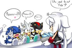 Let's eat fishes! by Unichrome-uni on DeviantArt Silver The Hedgehog, Shadow The Hedgehog, Sonic The Hedgehog, Sonic And Amy, Sonic And Shadow, Sonic Funny, Sonic Fan Characters, Sonic Franchise, Sonic Fan Art