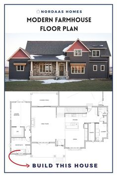 Beautiful two story modern farmhouse floor plan designed and built by Nordaas Homes, a full-service custom home builder in Minnesota. We have a variety of house plans--from single story, two story… More