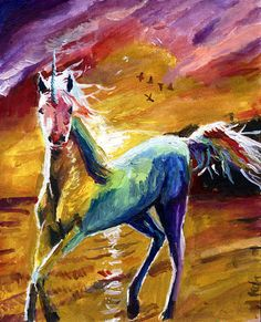 This is a psychedelic unicorn is perfect for lovers of this mystical beast. Magical, rainbow, and all things mystical! Perfect for gifts such as weddings, housewarming, christmas, easter, valentines day or any other occasion. Piece title: Rainbow Unicorn Medium: PRINT on matt paper #unicorn #art #painting #magical #fineart #print #unicornlover #acrylic #12x16 Fine Art, Eagle Art, Surreal Art, Mythical Animal, Painting, Art, Animal Paintings, Fine Art Prints, Magical Art