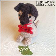 """Pupazzo cagnolino """"Ginko"""" personalizzato #amigurumi #handmade #crochet realizzato con filato microfibra """"Excellent Baby"""" Filatura di Crosa"""
