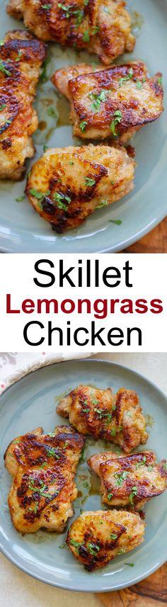 Skillet Lemongrass Chicken – best and easy skillet chicken recipe. Marinate with lemongrass, salt, honey, pan-fried & dinner is ready | rasamalaysia.com