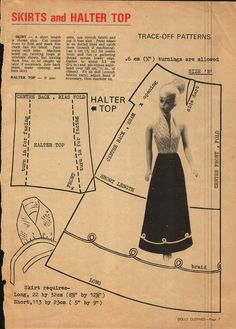 Enid Gilchrist's Dolls Clothes - Halter & Skirt Patterns