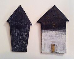 Black and White Houses - encaustic on cardboard