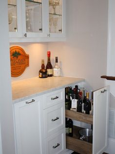 basement-bar-design-pull-out-vertical-drawer - Home Decorating Trends - Homedit Wet Bar Basement, Basement Bar Designs, Home Bar Designs, Basement Ideas, Basement Finishing, Basement Kitchen, Basement Remodeling, Modern Basement, Wet Bar Designs