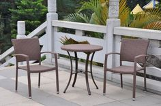 Barcelona Wicker Resin Round Table Bistro Set . $268.50. Set of 3 Bistro Set Includes: (1)Wicker Resin 28 in. round table and (2) matching arm chairs. Aluminum Frame and Poly Wood. Resin Wicker - Antique Black. Weather and UV Resistant. Table Dimensions: 30 in High x 28 in Diameter. Enjoy your mornings relaxing with your Barcelona Wicker Resin 3pc Bistro Set. Aluminum frame, weather and UV resistant. Table and Chairs are perfect for sunrooms and patio's
